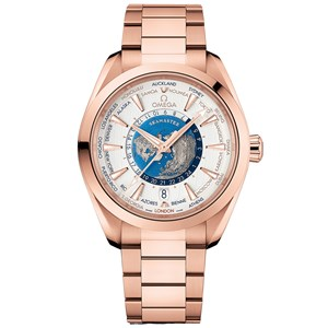 Omega Aqua Terra 150m GMT Worldtimer 43mm - Sedna Gold