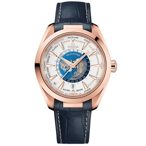 Omega Aqua Terra 150m GMT Worldtimer 43mm - Sedna gold/Leather