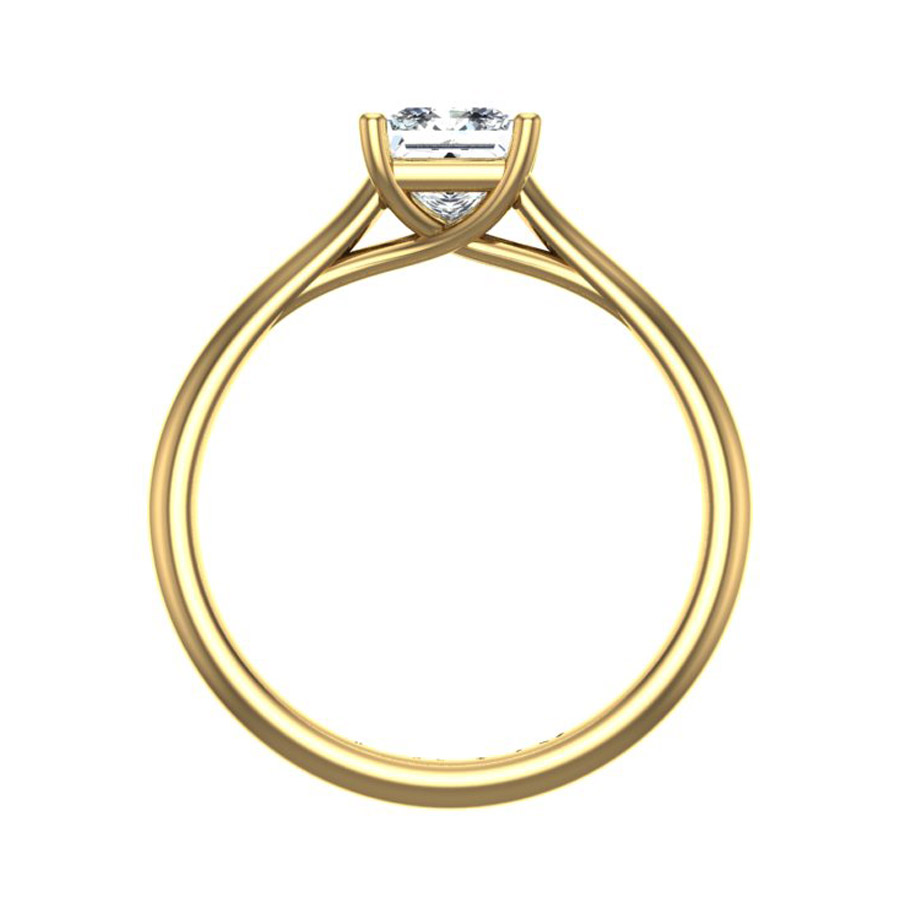 Beards Princess Cut Diamond & 18ct Yellow Gold Crossover Engagement Ring