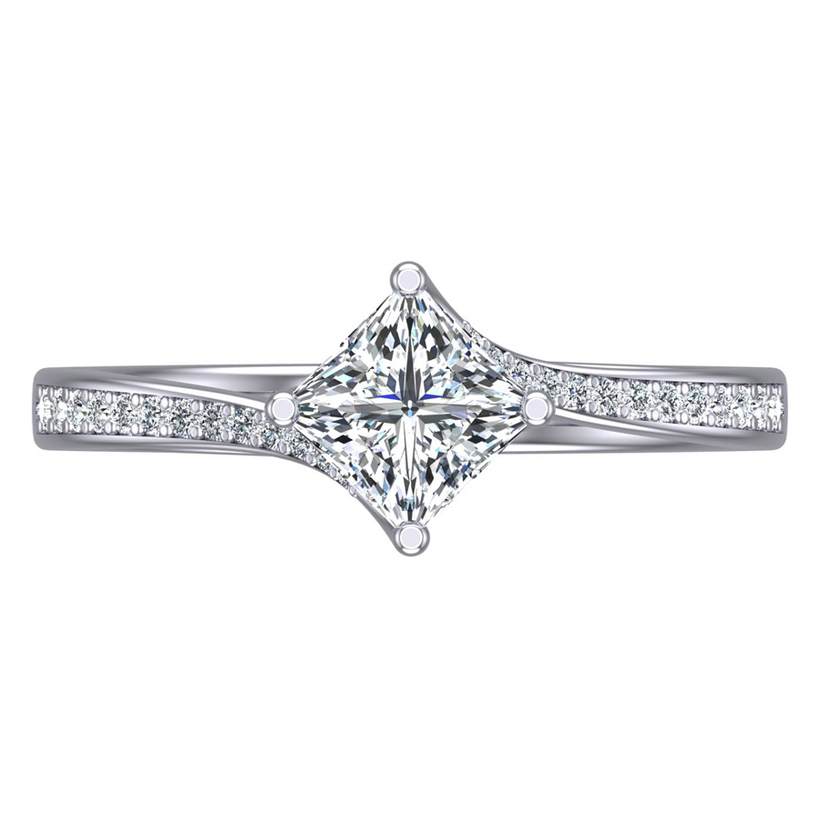 Beards Princess Cut Diamond & Platinum Twist Engagement Ring