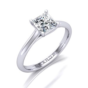Beards Princess Cut Diamond & Platinum Crossover Engagement Ring
