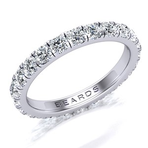 Beards Platinum Claw Set Wedding Band 1.25ct