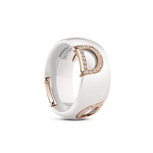 Damiani D.icon White Ceramic Gold Diamond Ring