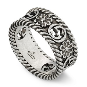 Gucci Interlocking G Floral Silver Ring