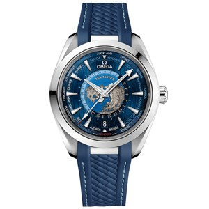 Omega Aqua Terra 150m GMT Worldtimer 43mm - Steel/Rubber