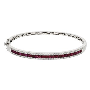Beards Ruby & Diamond 18ct White Gold Bangle