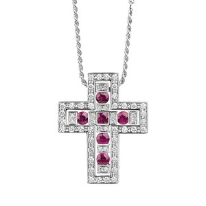Damiani Belle Époque Ruby & Diamond Cross Pendant