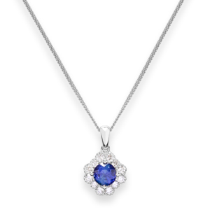 Beards 18ct White Gold Sapphire & Diamond Cluster Pendant