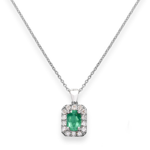 Beards 18ct White Gold Emerald & Diamond Pendant