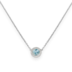 Beards 18ct White Gold Aquamarine & Diamond Halo Pendant