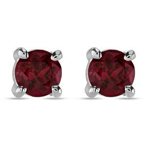 Beards Ruby & 18ct White Gold Ear Studs