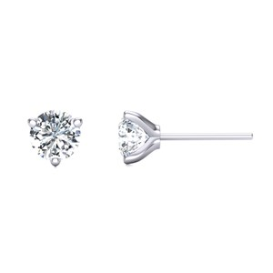 Beards Three-Claw Diamond & Platinum Ear Studs