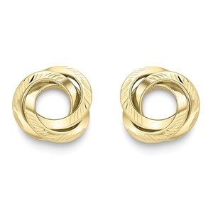 Beards 9ct Yellow Gold Open Knot Earrings