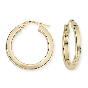 Beards 9ct Yellow Gold Hoop Earrings