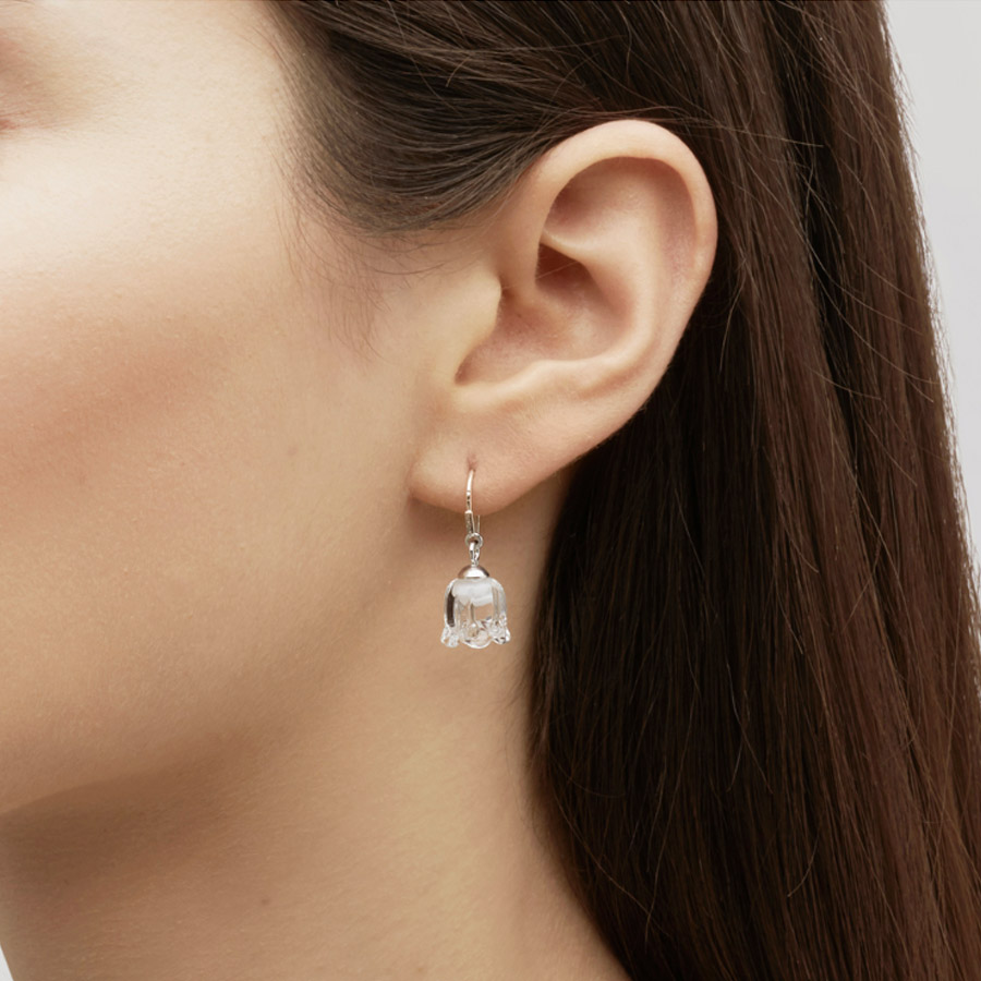 Lalique Clear Crystal & Silver Mugeut Earrings