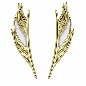 Shaun Leane Yellow Gold Vermeil Feather Earrings