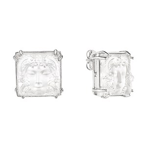 Lalique Clear Crystal & Silver Arethuse Earrings