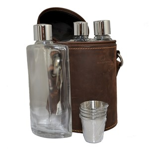 Travel Companion Leather Hip Flask Travel Kit