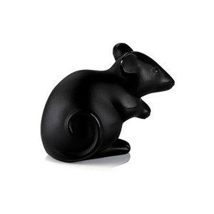 Lalique Black Crystal Mouse Sculpture