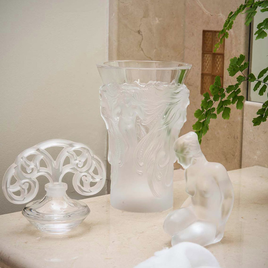 Lalique Clear Crystal Flore Sculpture