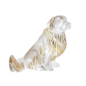 Lalique Gold Stamped Clear Crystal Golden Retriever Dog Sculpture