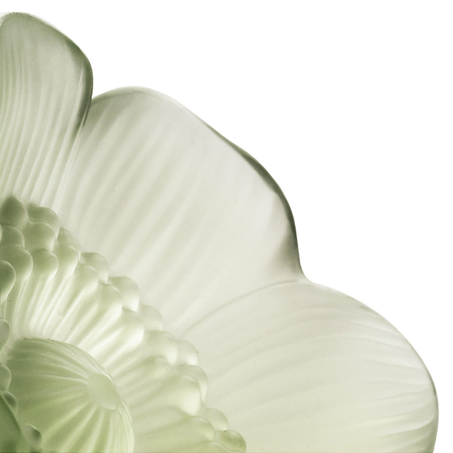 Lalique Green Crystal Small Anemone Sculpture