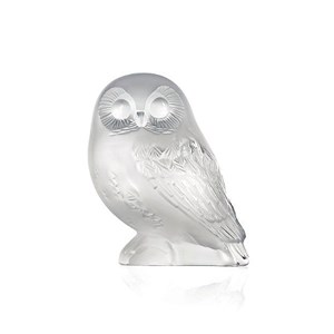 Lalique Clear Crystal Shivers Owl Sculpture