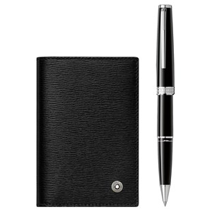 Montblanc Gift Set with PIX Black Rollerball and 4810 Westside Business Card Holder with V Gusset