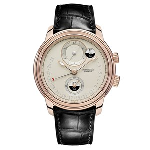 Parmigiani Fleurier Toric Hemispheres Retrograde Rose Gold Grained White Watch