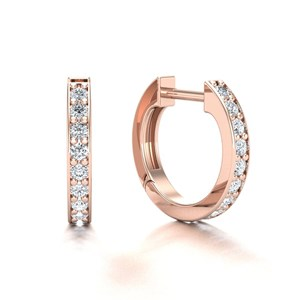 Beards 18ct Rose Gold Thread & Grain Set Diamond Huggie Hoop Earring