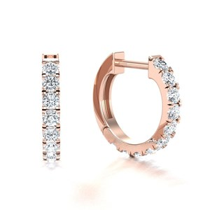 Beards 18ct Rose Gold Castle Claw Set Diamond Huggie Hoop Earring