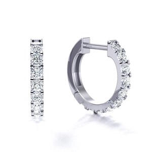Beards 18ct White Gold Castle Claw Set Diamond Huggie Hoop Earring