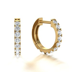 Beards 18ct Yellow Gold Castle Claw Set Diamond Huggie Hoop Earring