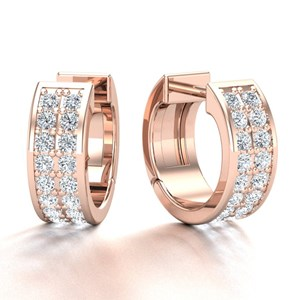 Beards 18ct Rose Gold Pavé Set Diamond Huggie Hoop Earring