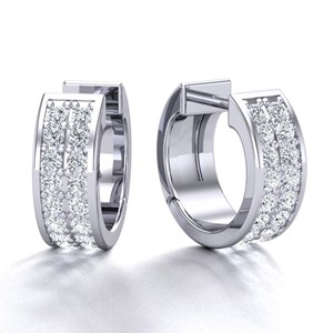Beards 18ct White Gold Pavé Set Diamond Huggie Hoop Earring