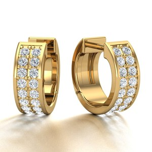 Beards 18ct Yellow Gold Pavé Set Diamond Huggie Hoop Earring