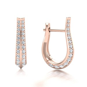 Beards 18ct Rose Gold Tapered Diamond Huggie Hoop Earring