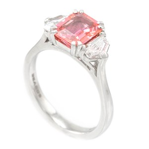 Beards Octagonal Cut Peach Sapphire Dress Ring