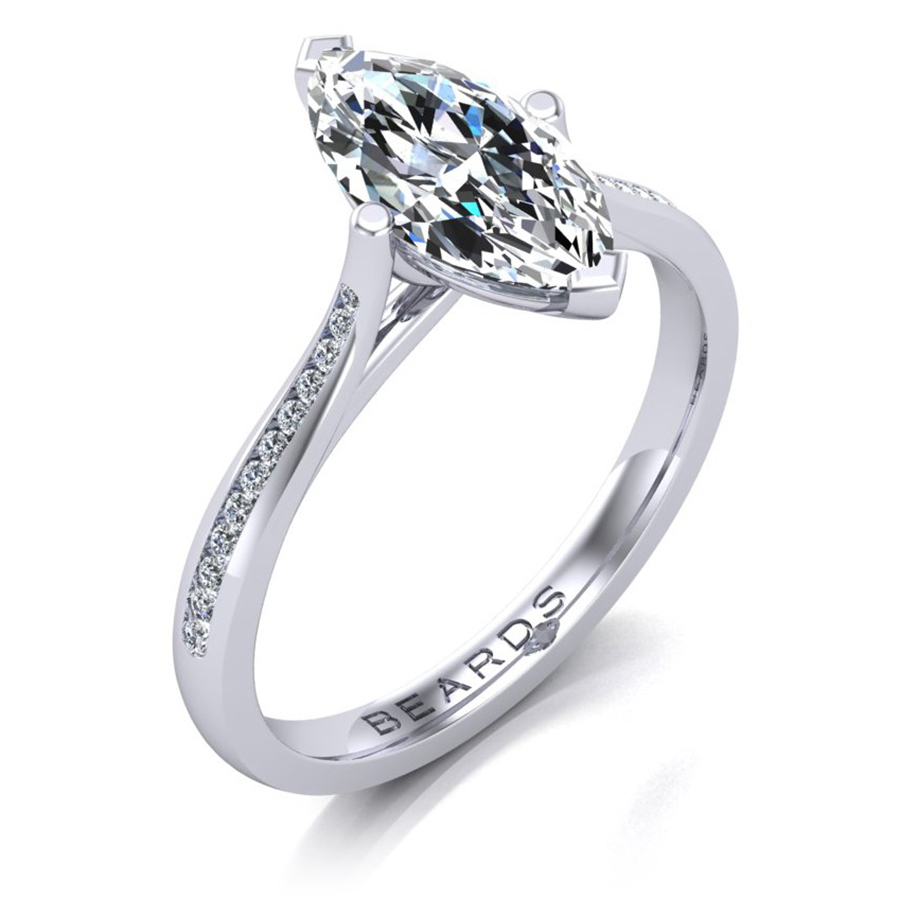 Marquise Channel Set Diamond Engagement Ring, 1.00ct