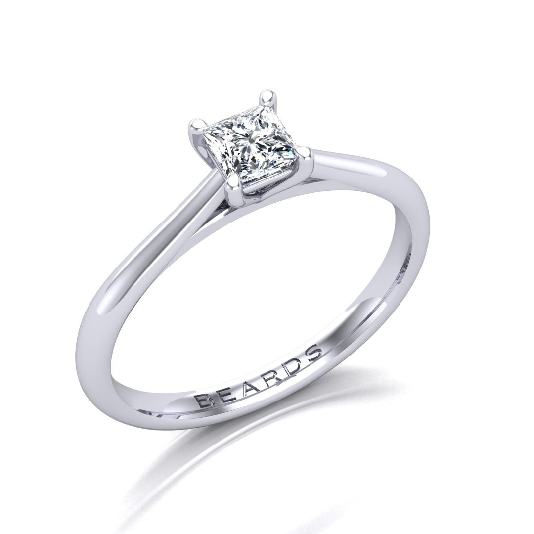 Four Claw Princess Cut Diamond Engagement Ring, 0.32ct