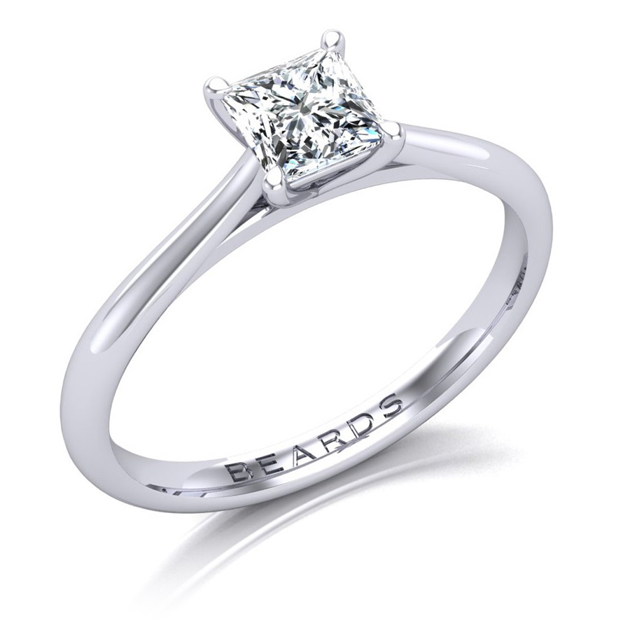 Princess Cut Single Stone Diamond Ring, 0.71ct