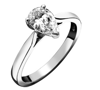 Beards Pear Diamond Engagement Ring, 0.51cts