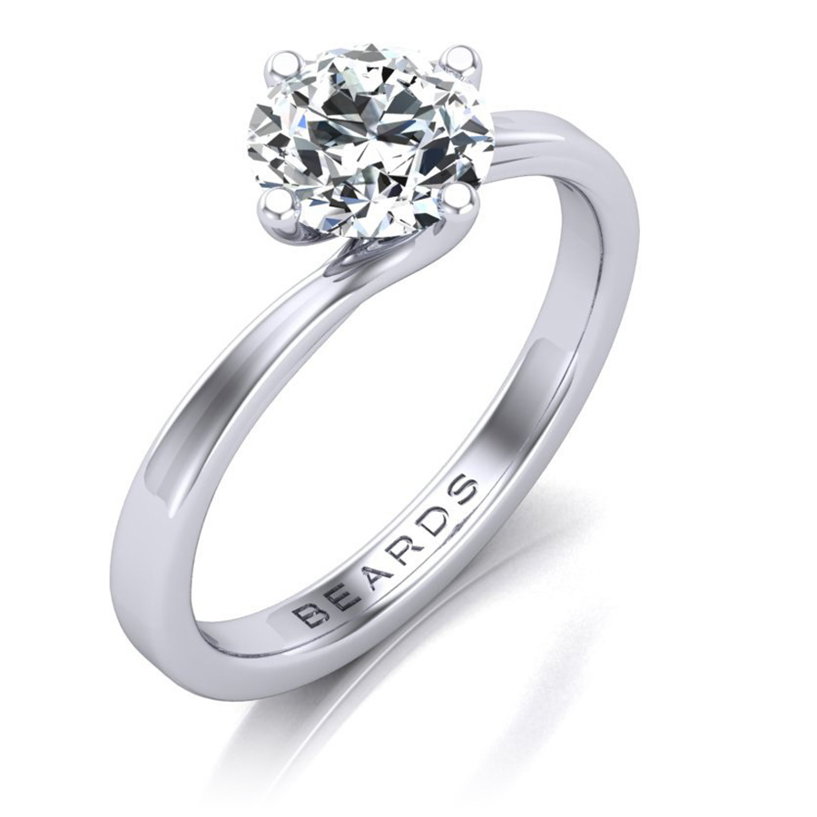 Beards Twist Round Brilliant Cut Diamond Engagement Ring, 0.50cts