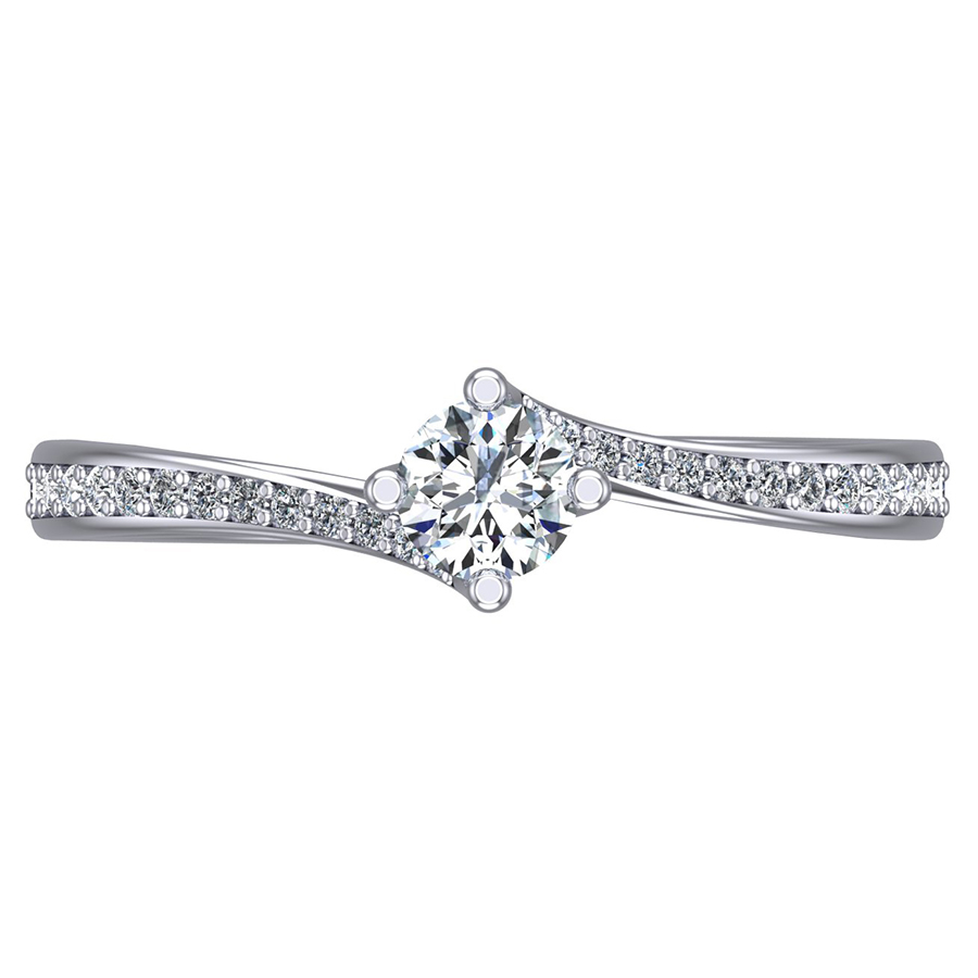 Round Brilliant Twist Ring, Diamond Shoulders 0.93ct D/FV1