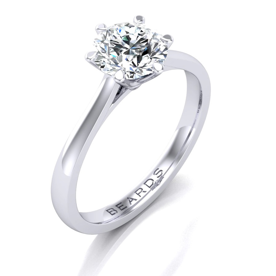 Beards Round Brilliant Cut Diamond Engagement Ring, 0.70cts