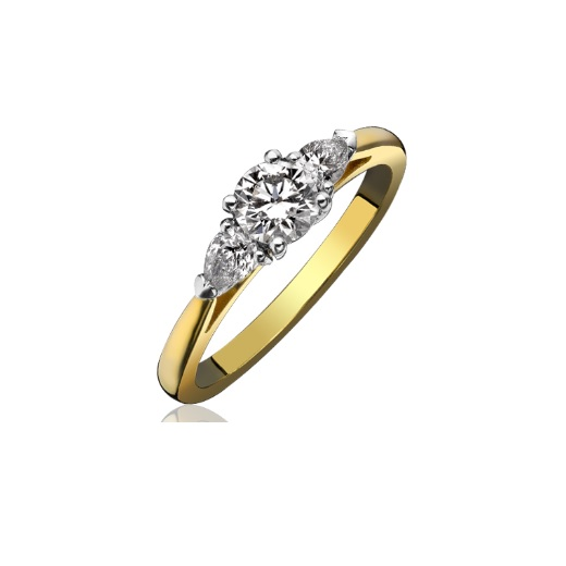 Round Brilliant and Pear Cut Diamond Ring