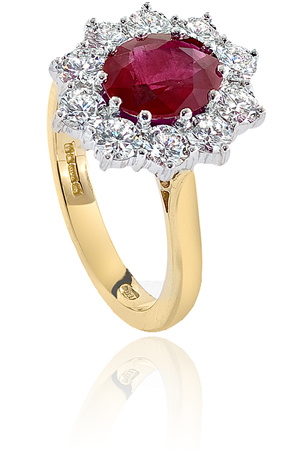 Ruby & Diamond Cluster Ring Oval 1.63ct