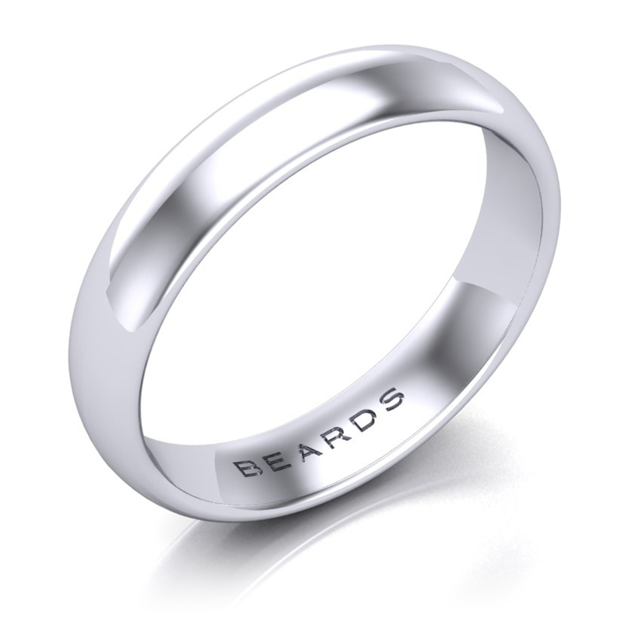 Beards Platinum Wedding Band, 4mm