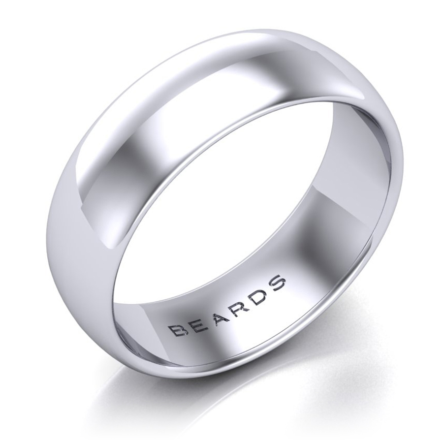 Beards Platinum Wedding Band, 6mm