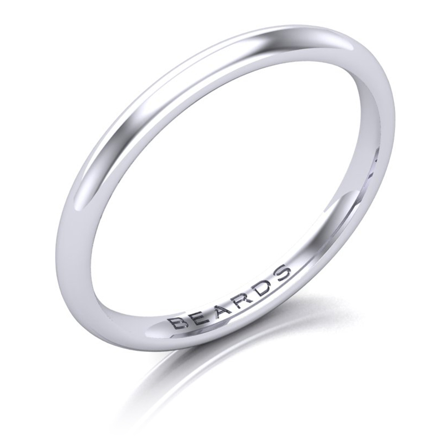 Platinum Wedding Band, 2mm